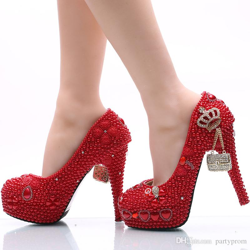 Handmade Wedding Shoes Red Pearl And