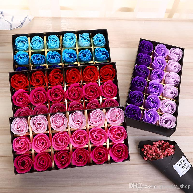 18PCS Rose Soaps Flower Packed Wedding Supplies Gifts Event Party Goods Favor Toilet Soap Scented Bathroom Accessories Valentine Flower Gift