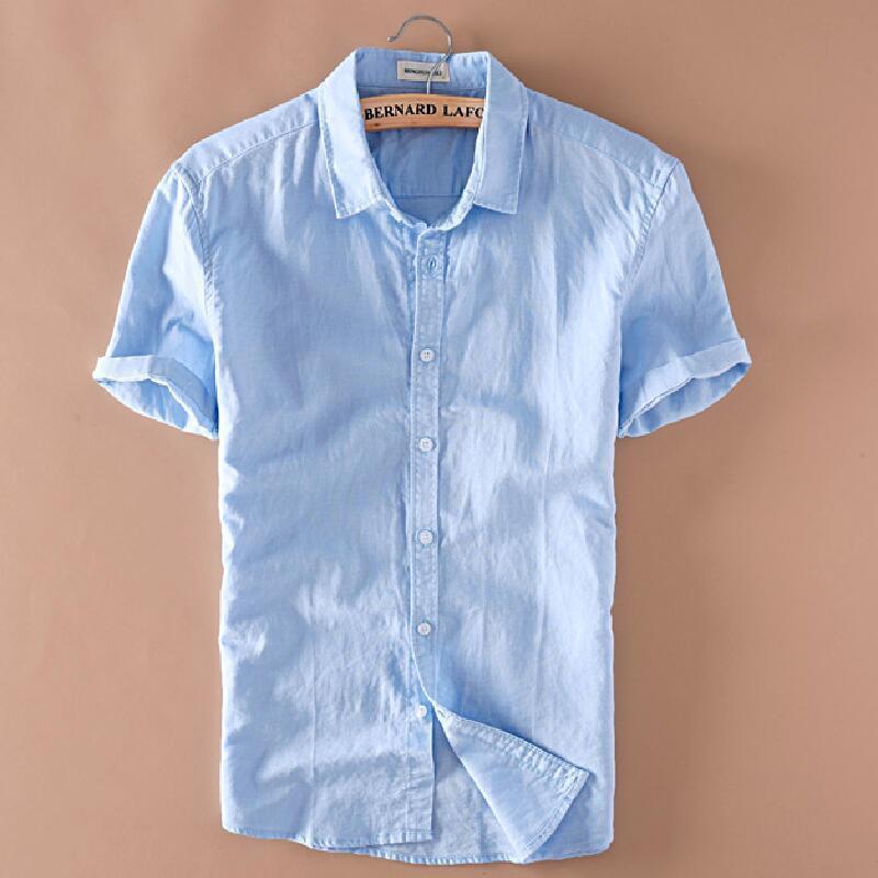 리넨 한국 남자의 여름면과 린넨 짧은 소매 셔츠 옷깃 캐주얼 청소년 린넨 셔츠