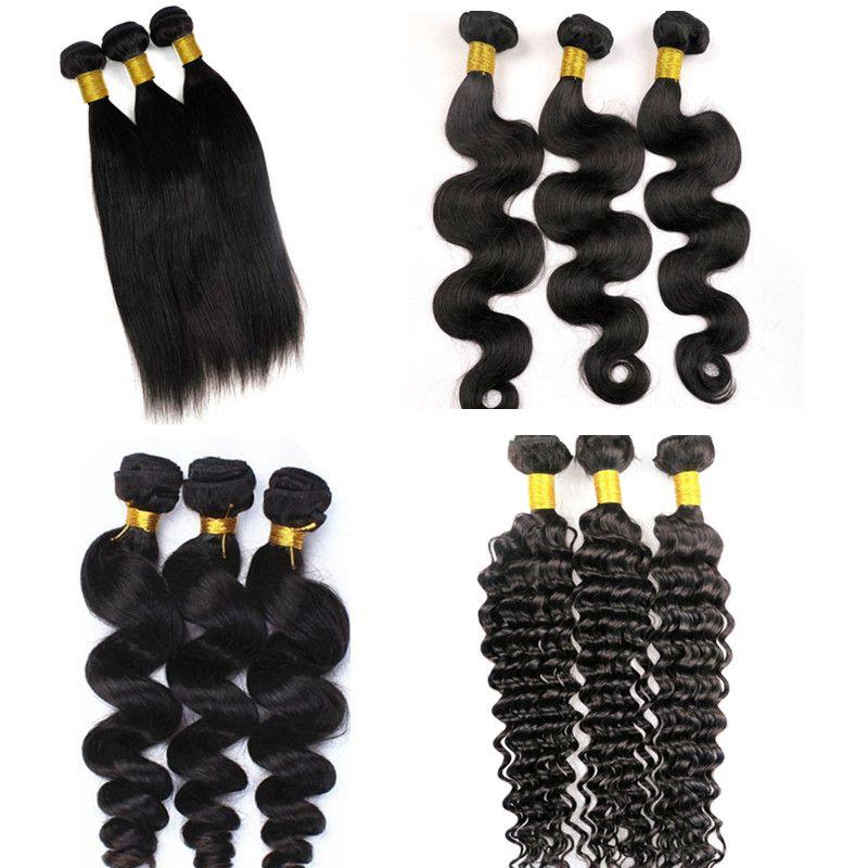 Виргинских бразильских волос пучки человеческих волос ткет 8-34inch необработанные Peruvain Индийский Малайзии монгольской Виргинские человеческих волос расширения
