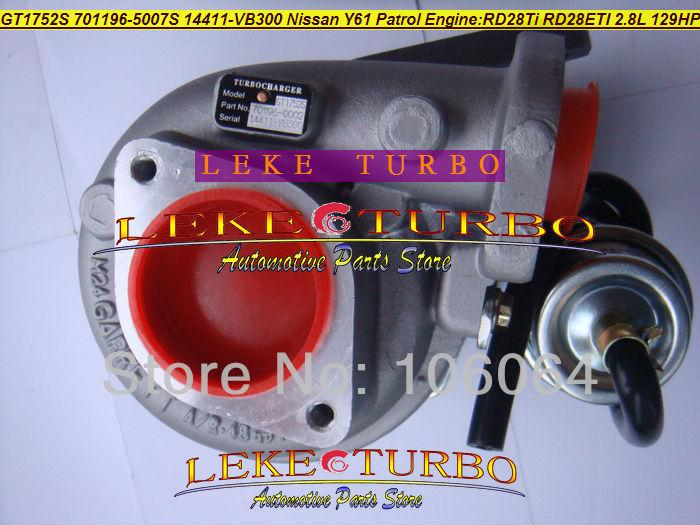 GT1752S 701196-5007S 14411-VB300 NISSAN Y61 PATROL RD28Ti RD28ETI 2.8L RD28T 129HP turbocharger (6)