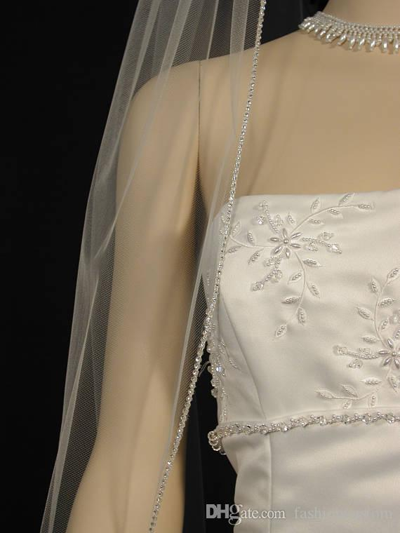 One Layer Fingertip Length Rhinestones Edge Wedding Veil Whit Ivory Bridal Veil Tulle With comb 128a