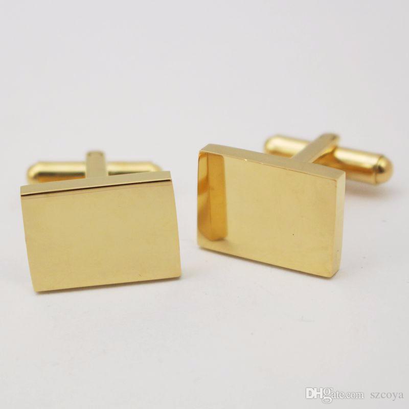 Regalos Joyería Grabado Láser Su Logo Rectángulo Gemelos de Acero Inoxidable para Hombres Gemelos dorados perfectos detalles para hombre
