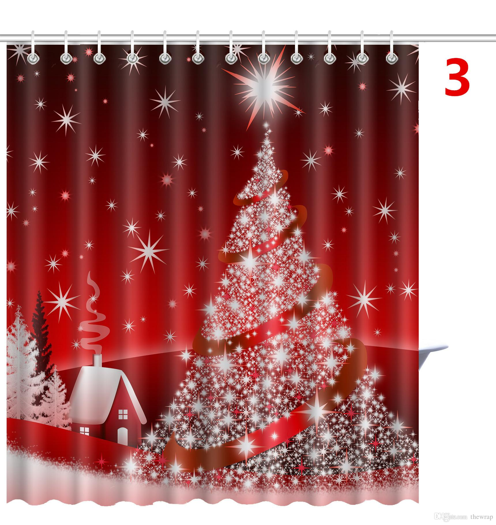 2019 Merry Christmas Shower Curtains Christmas Tree Snowman Santa Claus Patterns Bathroom Shower Curtains With 12 Hooks Bath Curtains From Thewrap