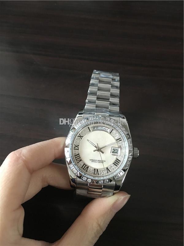 New fashion Male watch, Top selling Diamonds bezel Auto Calendar stainless steel wrist watch 098