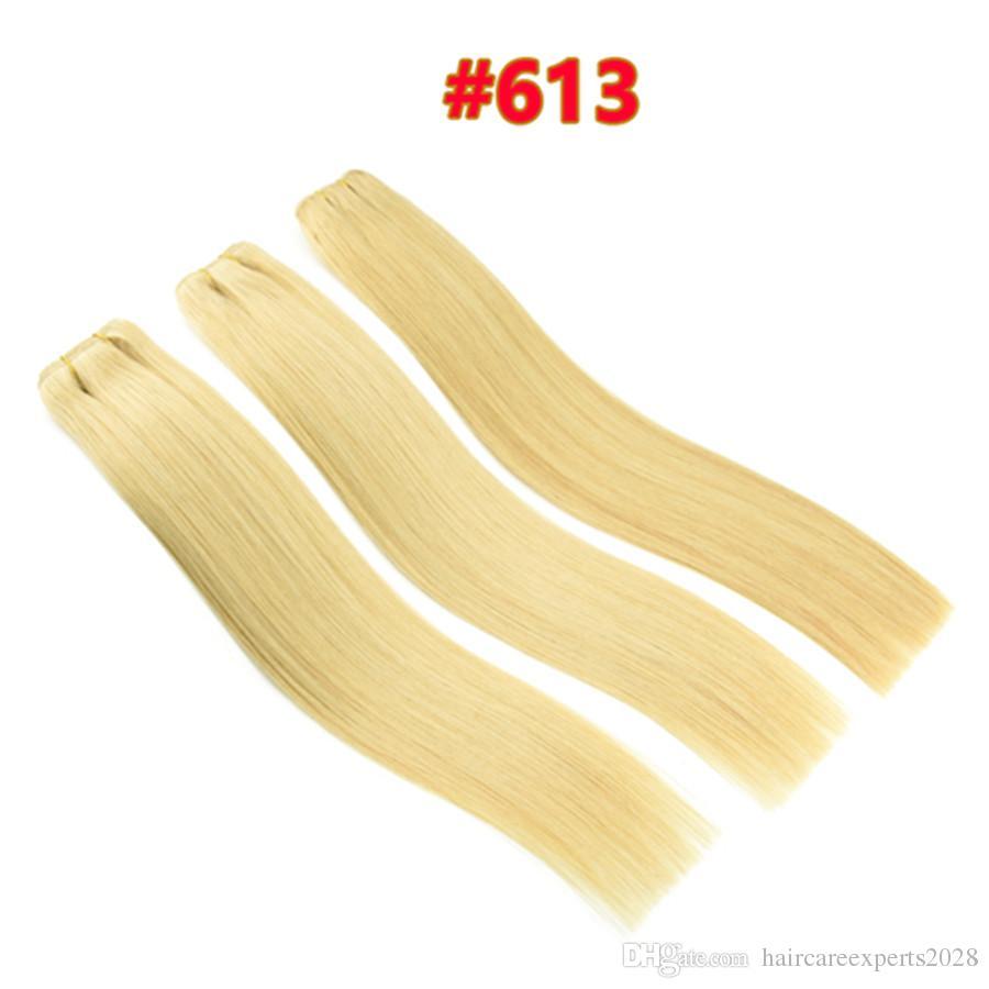 10A Grade Qualität Doppel Gezeichnet # 60 # 613 Blonde Brasilianische Gerade Menschenhaar 3 stücke 80 gr / teile Brasilianische Menschliche StraightHair Weave Bundles