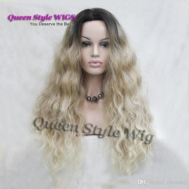 Hot Synthetic African American Wig Black Dark Roots Ombre to Blonde color Kanekalon Fiber Quality natural Wavy Hair wigs for white women