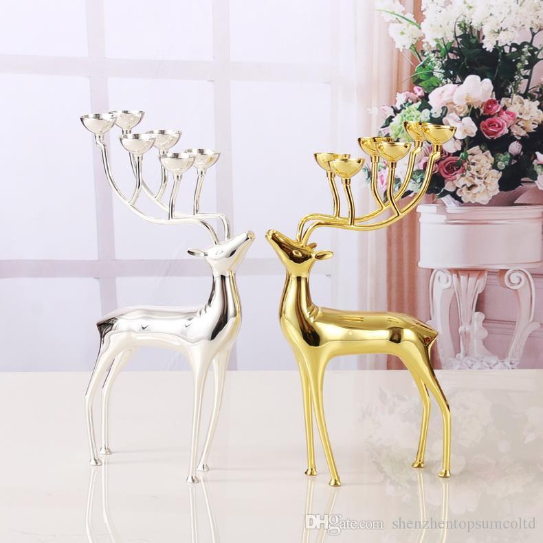 Lyxiga Spotted Deer Candle Holders Rostfritt Stål Stearinljushållare Ljusstake Bröllopskandelabra dekoration med gratis ljus