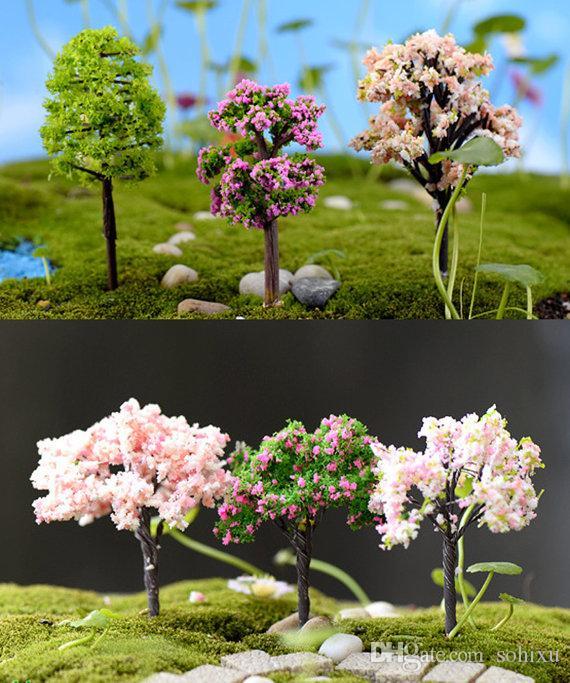 9 stücke Variation Mini Baum Pflanze Junly Moos Gnome Miniatur Fee Garten Hause Rasen Terrarium Moos Topf Harz handwerk Jardin Decor