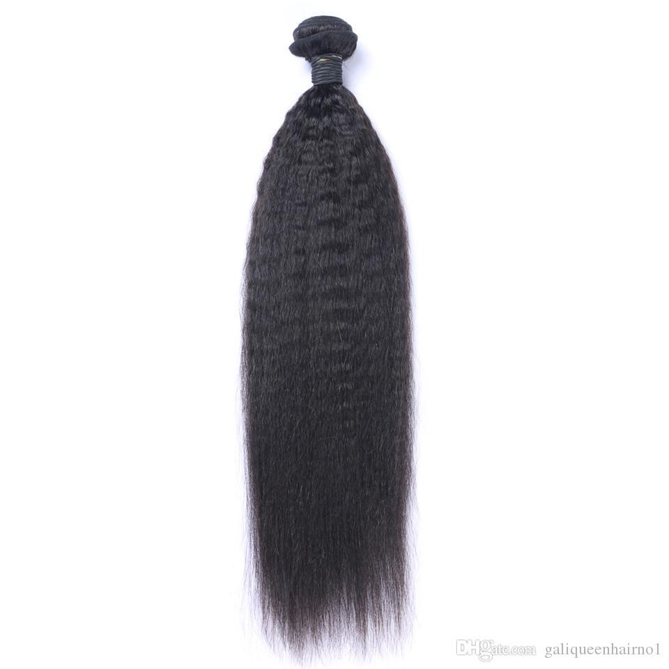 البرازيلي العذراء الشعر البشري ياكي غريب مستقيم غير المجهزة ريمي الشعر ينسج مزدوجة لحمة 100 جرام / حزمة 1Bundle / lot يمكن مصبوغ