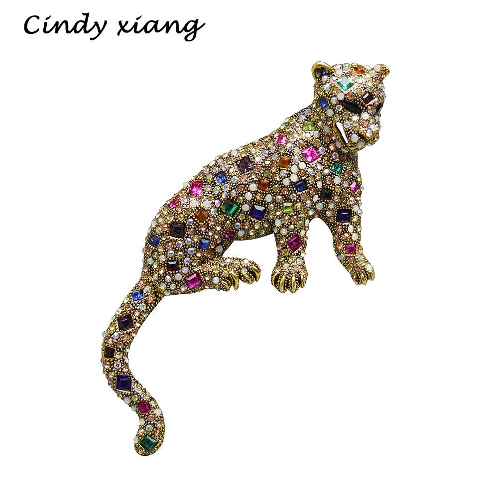 Cindy Xiang Multi-color Rhinestone Leopard Brooches Big Brooch Fashion Jewelry Exaggerated Animal Brooch Pins Winter Coat Pins