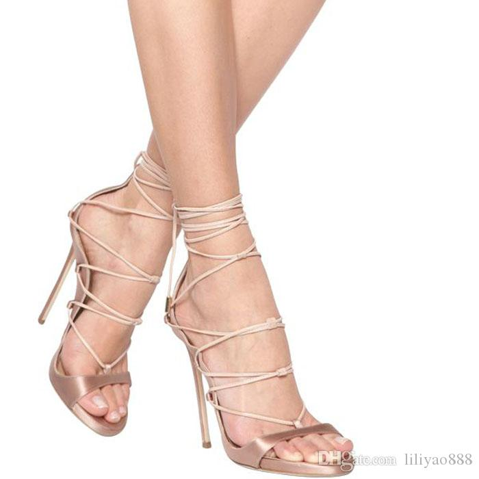 4640e5406eb New Python Leather Lace Up Gladiator Sandals Women Platforms Stiletto High  Heels Strappy Sexy Cut Out Booties Woman Pumps Black Sandals Ladies Sandals  ...