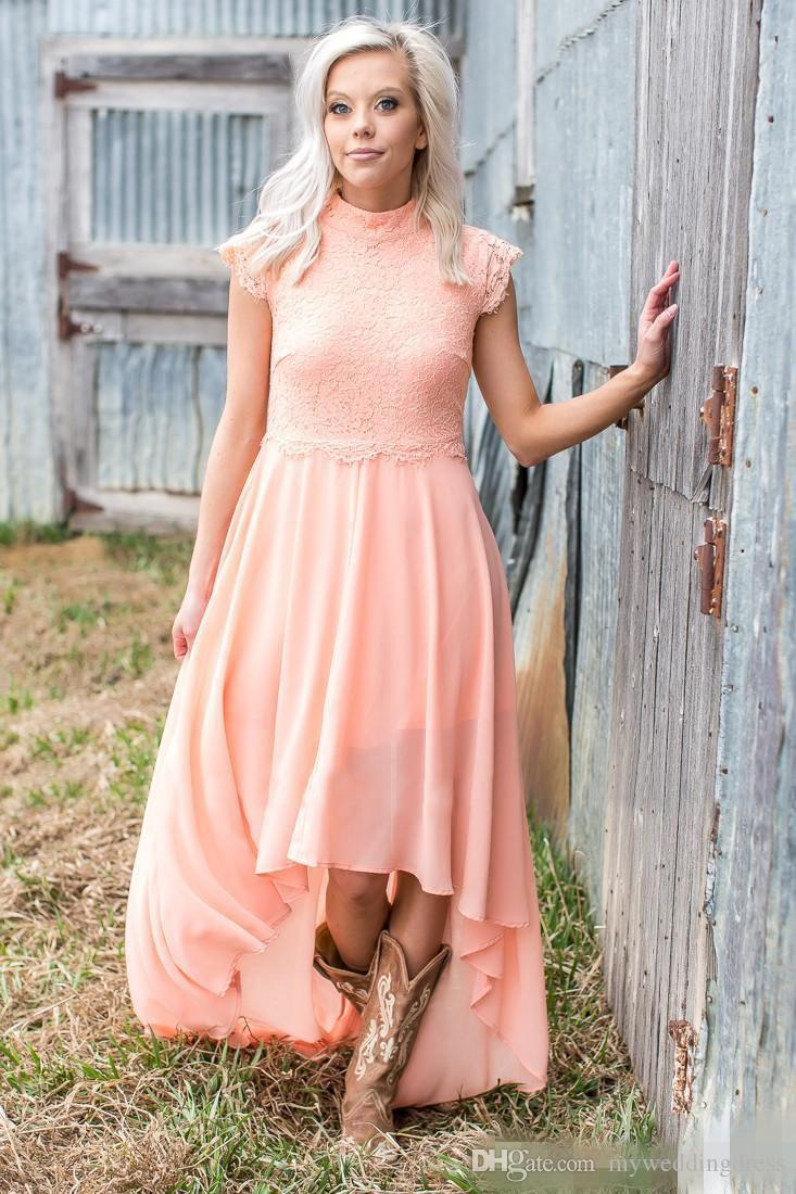 Dusty Pink Coral Chiffon Beach Bridesmaid Dresses Lace Top 2017 ...