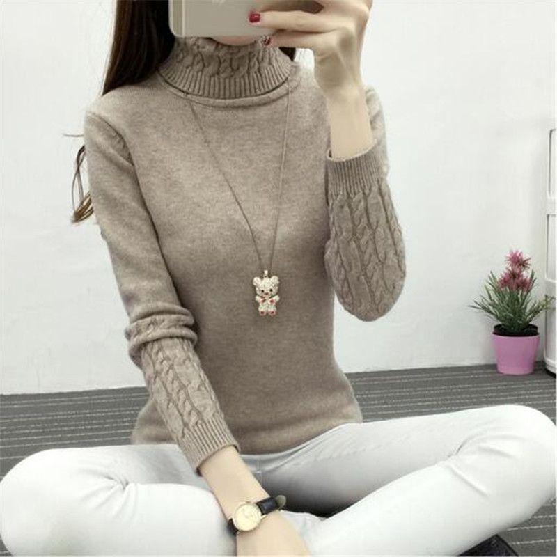 도매 -2016 겨울 새로운 여성 한국어 여성 터틀넥 셔츠 바닥에 야생 기질 간단한 트위스트 두꺼운 헤지 슬림 얇은 스웨터