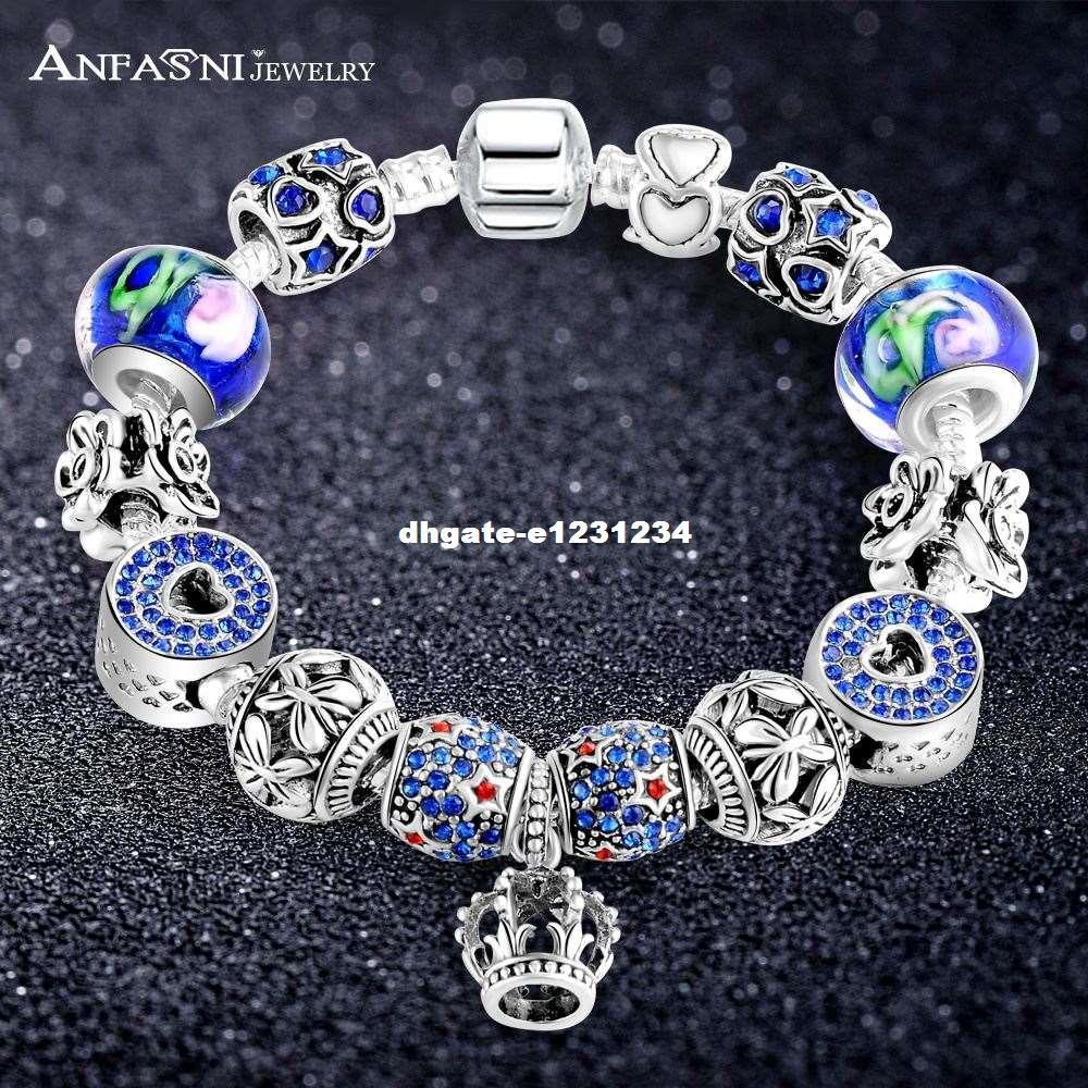 ANFASNI Chaîne de Sécurité Couleur Argent Charmes Couronne Bracelet avec Fleur Bleu Verre Bracelet Pour Femmes Mode Bijoux 1-PCBR0205