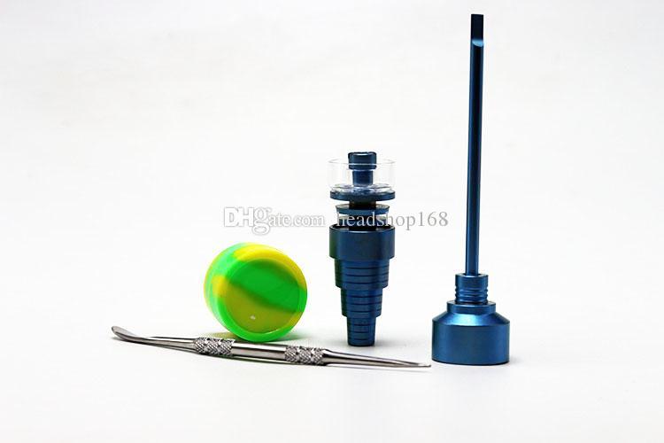2017 Bong-Werkzeug-Set 14mm 18mm Quarz Farbe Titan-Nagel Bunte Carb Cap Dabber Werkzeug Slicone Jar Dab Container Freies Verschiffen