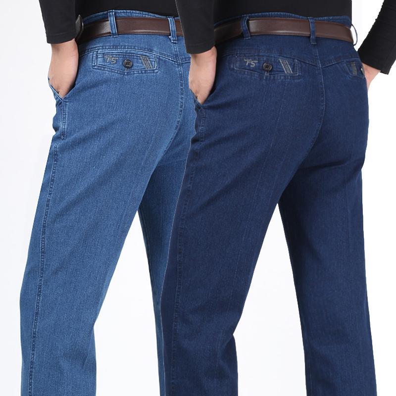 Großhandels-Mens-Frühlings-Herbst-Art- und Weiseausdehnungs-Denim-Jeans-Qualitäts-mittlere Taille gerade Normallack-lange Biker-Jean-Hosen-Trouses