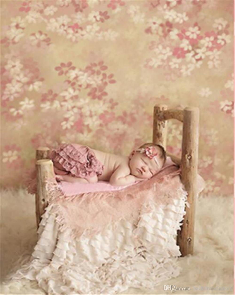 화이트 핑크 꽃 사진 배경 디지털 인쇄 된 아기 신생아 사진 부스 바탕 화면 빈티지 꽃 사진 배경