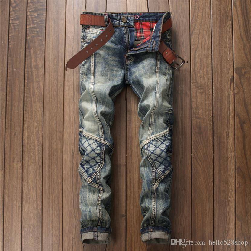 Klasik Tasarım Yeni Retro Dikiş Delik Kot Pantolon Erkek Rahat Jean Pantolon Gece Kulübü Tüm Sezon için Uzun Pantolon
