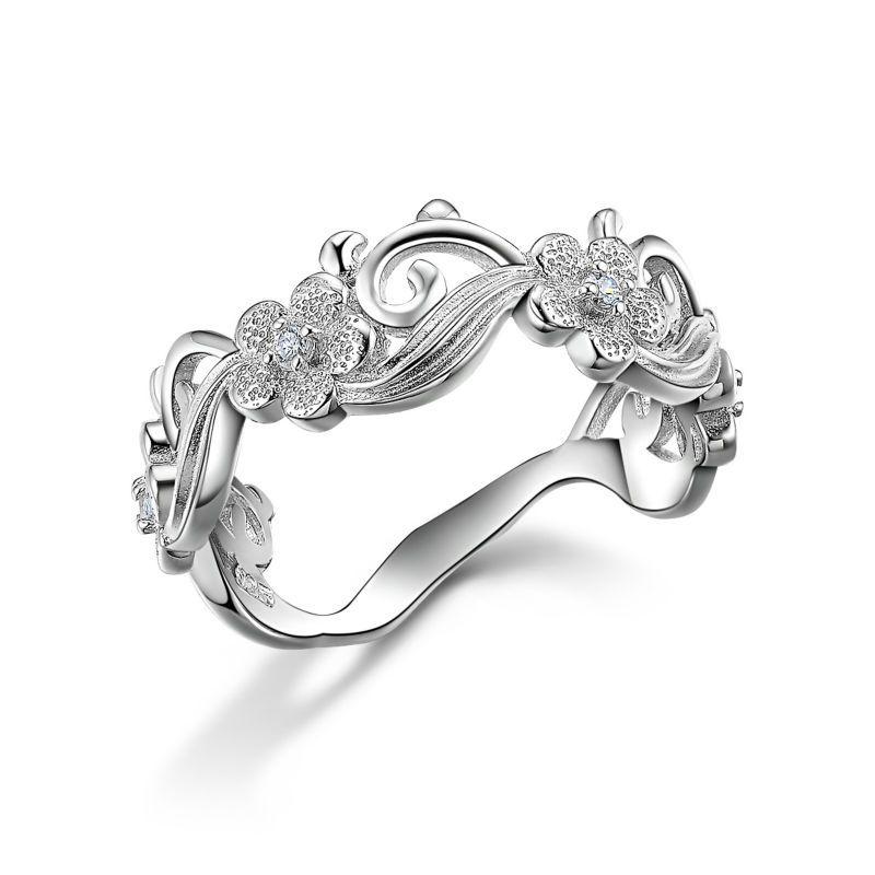여성용 솔리드 925 스털링 실버 클래식 결혼 반지 4 꽃 디자인 유행 쥬얼리 무료 배송 미국