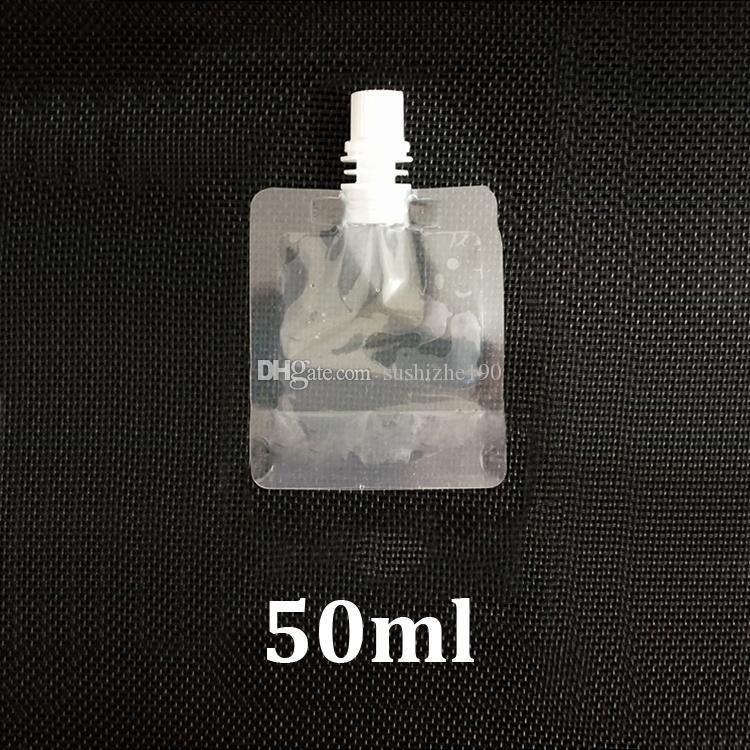 50ml piccolo chiaro doypack riempimento imballaggi alimentari in plastica beccuccio sacchetto di stoccaggio bere acqua succo liquido 50 ml mini alzano sacchetto con beccuccio