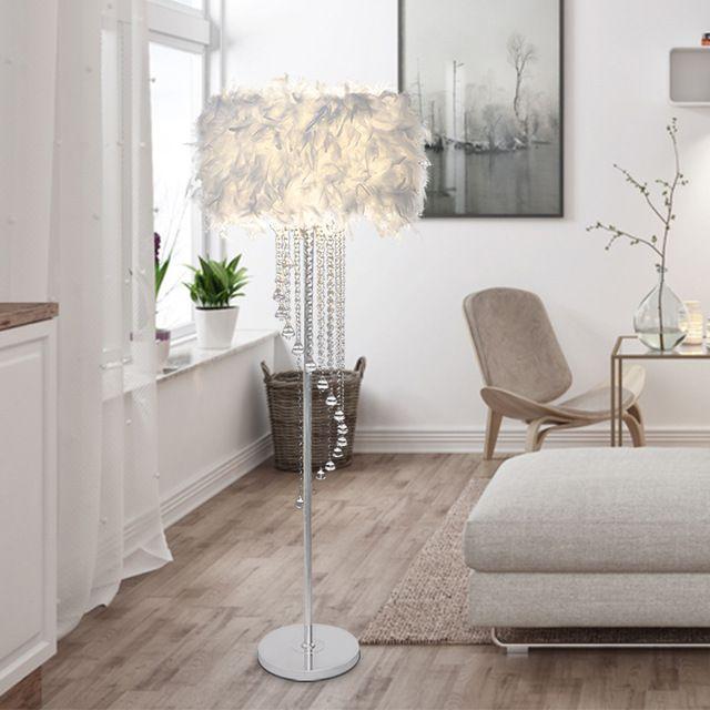 Grande lampada da terra bianca blu rosa rossa lampada a LED Lampadina opzionale divano comodino in piuma di luce lampada da terra al piano terra