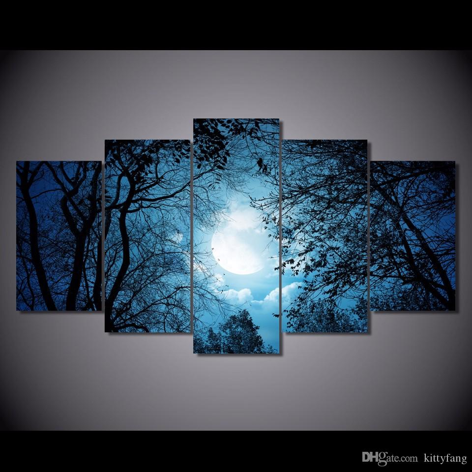 5 Pcs/Set HD Printed Cloudy Sky with Tree Silhouettes at Night Painting Canvas Print room decor print poster picture canvas