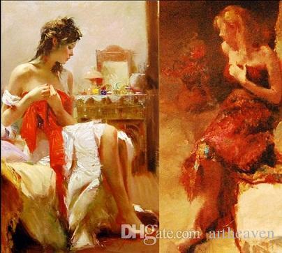 Eingerahmt Sexy Frau, erstaunliche Top-Qualität reine handgemaltes Impressionismus Portrait Art Ölgemälde Starkes Segeltuch, Multi Größen-freies Verschiffen Pi006