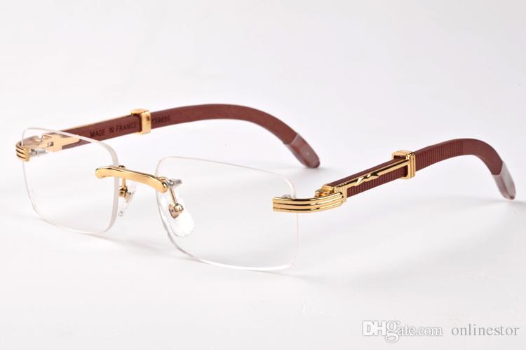 Moda sem aro dos óculos de sol 2020 do metal do ouro do vintage retro Homem Mulheres Oversize Sun óculos pernas de madeira lente clara esportes dos homens dos óculos de sol