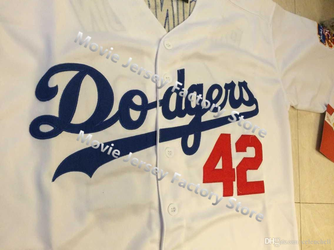 39c00286 ... LA Dodgers 42 Jackie Robinson Jersey 1955 Throwback Los Angeles Dodgers  White W . ...