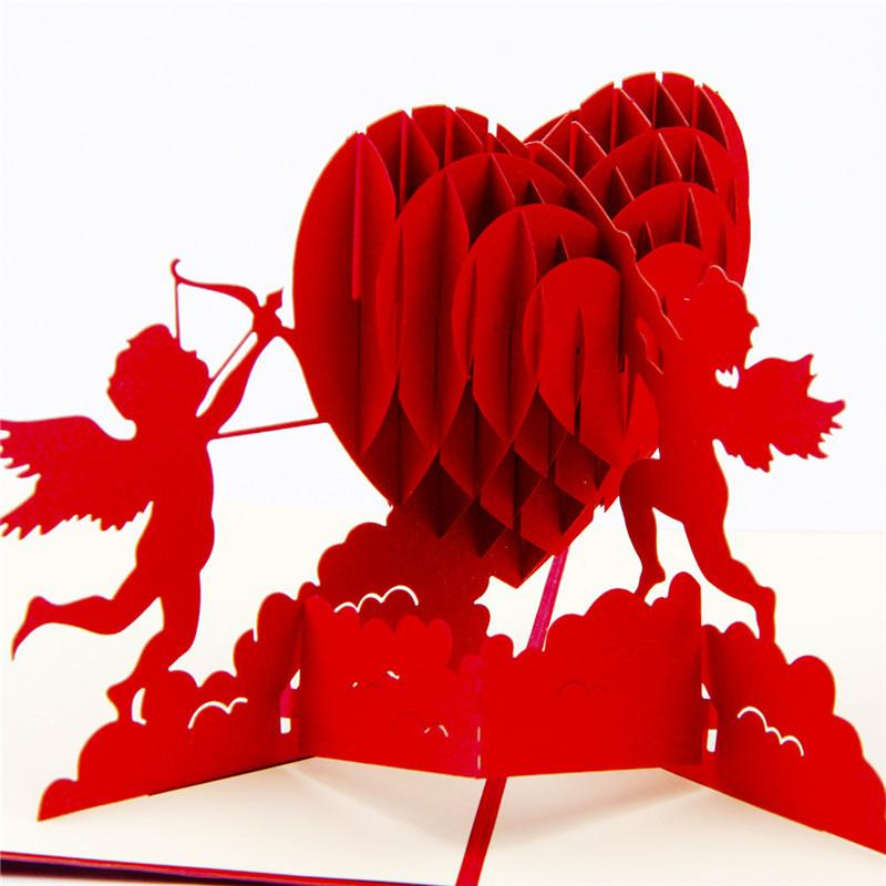 10pcs/lot Cupid's Heart Creative Valentine's Greeting&Gift Cards 3D Pop UP Card Kirigami & Origami Wedding Invitations