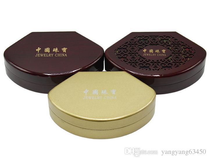 Vente chaude 0621E Bijoux Emballage Boîte-Cadeau En Bois Sculpté Perle Pendentif Collier Boîte D'emballage