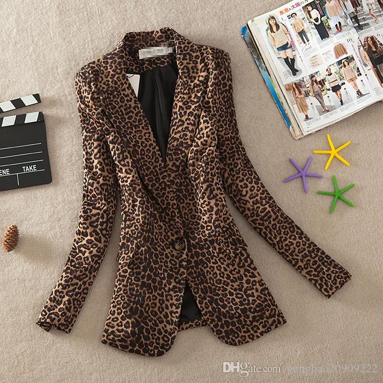 M-3XL 2017 빈티지 봄 여성 플러스 대형 레오파드 슬림 원 버튼 블레이저 Outwear Suit 여성 Jacket Coa