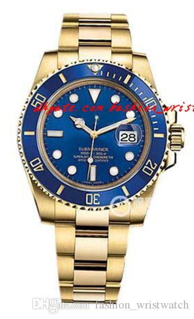 패션 럭셔리 손목 시계 새로운 18K 옐로우 골드 블루 다이얼 자동 망 시계 116618 자동 망 시계 남자 시계 최고 품질