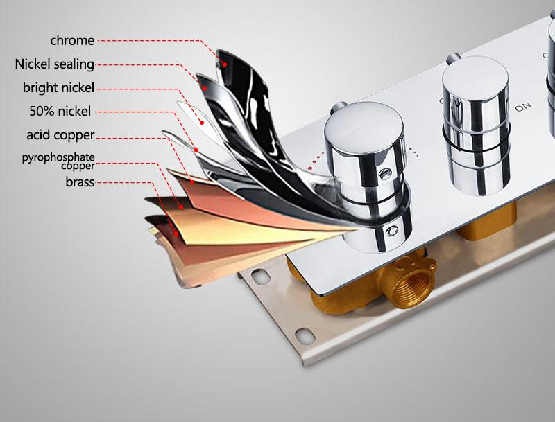 Bathroom Shower Valve Large Water Flow Solid Shower Accessories 5 ways Chrome Brass Panel Diverter Faucet Tap Shower Controller (10)