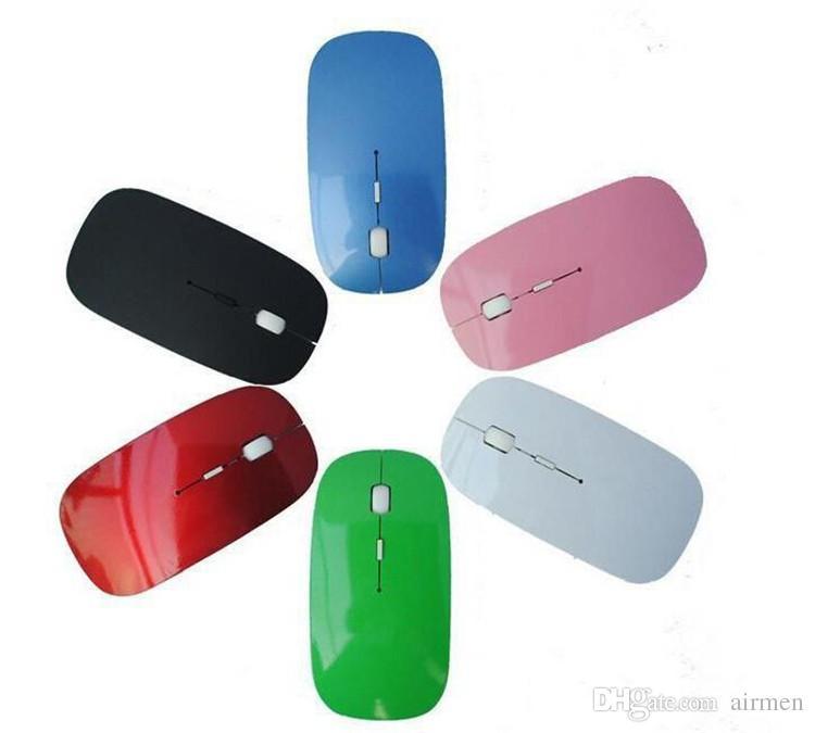 Новый стиль конфеты цвет ультра тонкая беспроводная мышь и приемник 2.4 г USB оптическая красочные специальное предложение компьютерная мышь