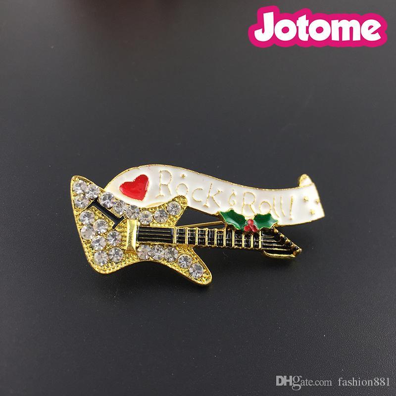 Spilla a cristallo per chitarra elettrica, spilla a forma di diamante per chitarra, spilla per chitarra