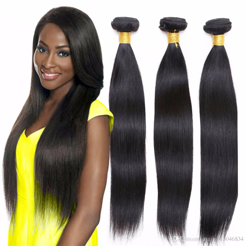 thick bottom Peruvian Straight Remy 3 or 4 Bundle 100% Human Hair Extension 8-26 Inches Hair Bundles Natural black Color