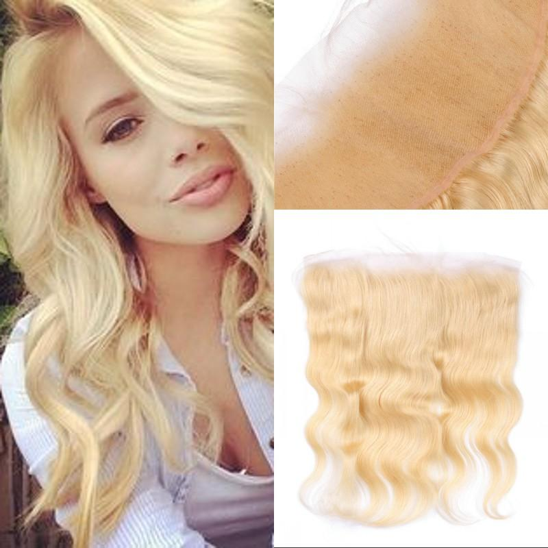 Russian Human Hair 613 Blonde Body Wave Lace Frontal Closure with Baby Hair From Ear to Ear FDSHINE