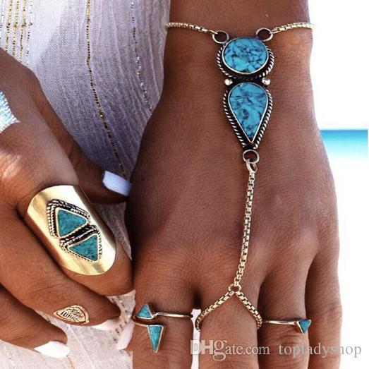 Bohemian Wind Beach Retro National Turquoise pulsera al por mayor envío gratuito