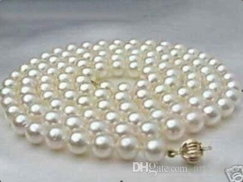 "8 мм благороднейший белый shell akoya жемчужное ожерелье 36"""