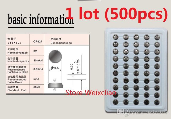 500pcs 1 lot CR927 3V lithium li ion button cell battery CR 927 3 Volt li-ion coin batteries tray package Free Shipping