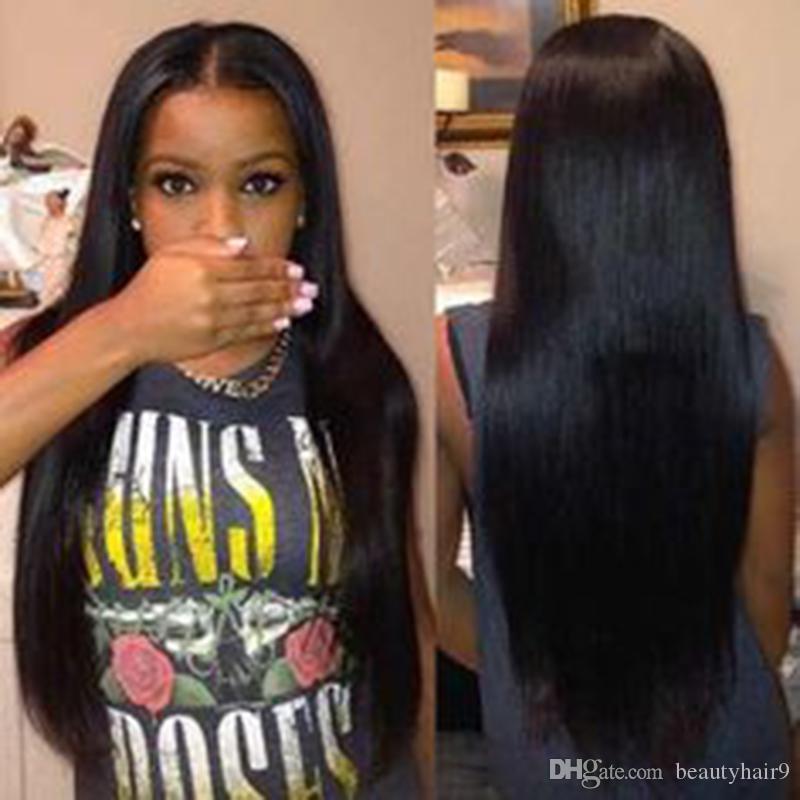 Sıcak satış en kaliteli uzun düz tam peruk siyah kadınlar için simülasyon insan saçı ipeksi düz tam peruk