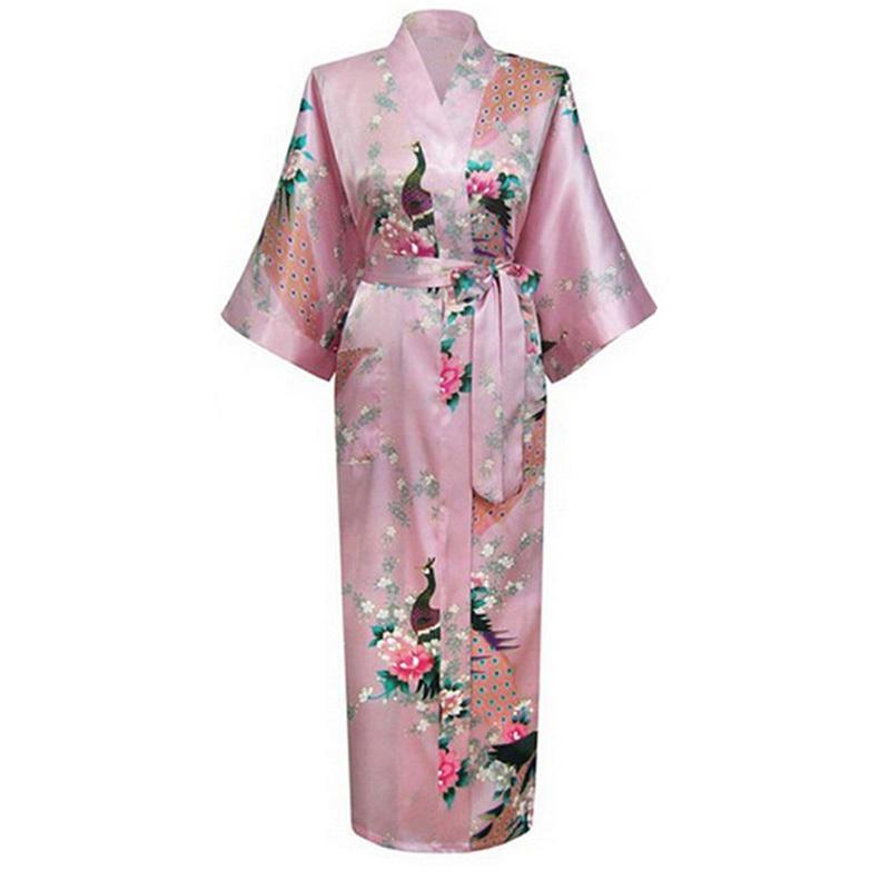 Wholesale- Plus Size XXXL Pink Sexy Silk Nightgown Flower Kimono Bath Gown Long Lingerie Robes Sleepwear Sauna Costume pijamas mujer NR022