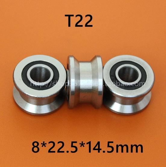 10 قطع عالية الجودة t22 ABEC-5 8 ملليمتر t الأخدود الأسطوانة عجلة اضعا الكرة TU22 8 * 22.5 * 14.5 * 13.5mm v / u الأخدود البكرة محامل