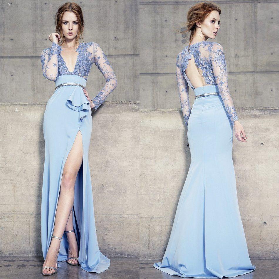 Manches longues Split robes de soirée dos nu plungling décolleté dentelle Applique perles sirène formelle robes de bal lumière ciel bleu robe de soirée
