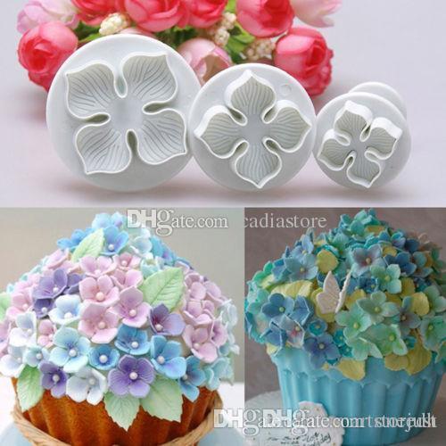 3 Unids Pastel de Hortensia Fondant Decoración Azúcar Craft Émbolo Cortador de Flores Molde E00280 ONET