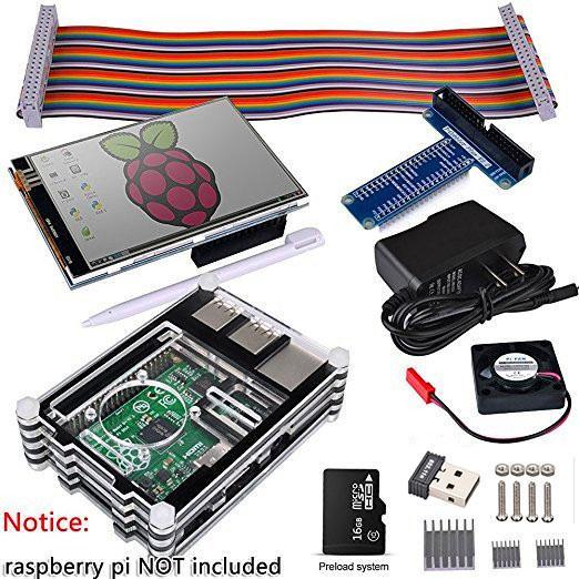 Freeshipping Raspberry Pi 3 2 Starter kit completo con adattatore USB + touch screen da 3,5 pollici + 16 GB + custodia + alimentatore + scheda GPIO + ventola + dissipatore di calore