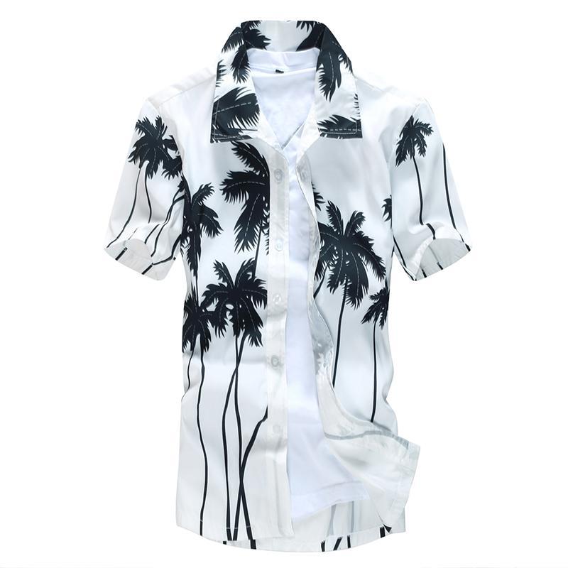 Wholesale- 2017 fashion summer quick dry casual men short sleeve shirts beach dress shirt M-5XL AYG230