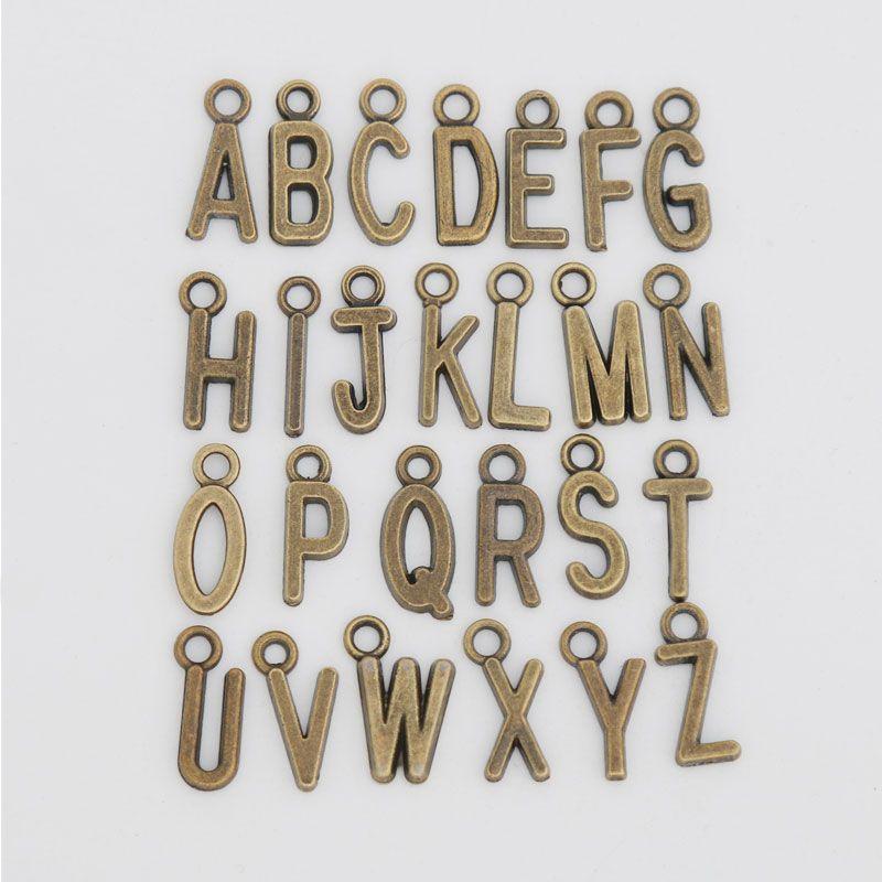 Fascini in lega di alfabeto nuova annata di metallo fascini della lettera iniziale 260pcs / lot, ogni ulteriore scrittura fascini 10pcs, AAC1198
